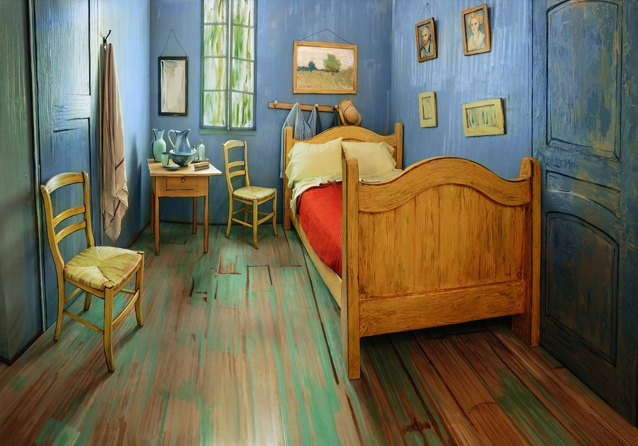 A replica of Van Gogh's bedroom, now available for rent on Airbnb for $10 a night.
