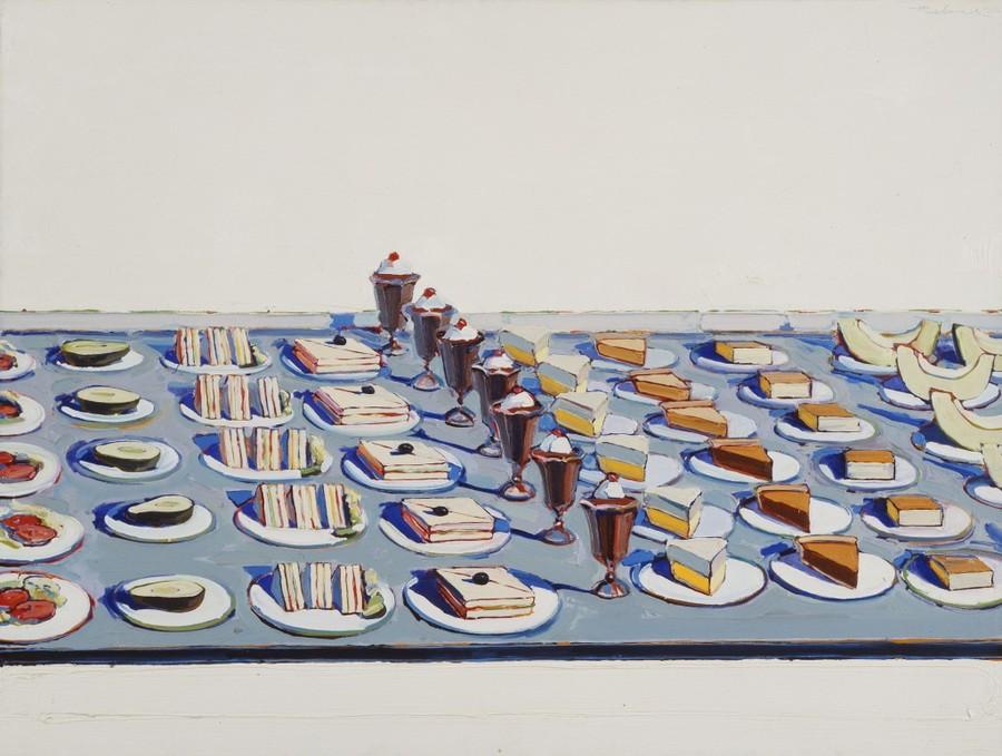 Wayne Thiebaud's Salad, Sandwiches, and Dessert (1960) is part of the tasteful new exhibit.
