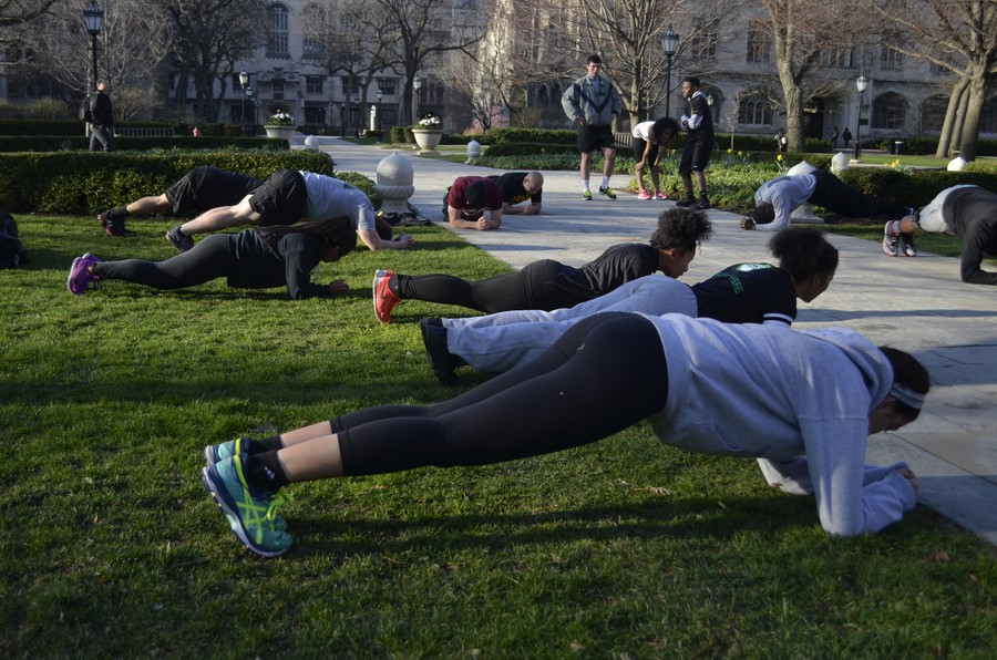 The University of Chicago's branch of ROTC trains bright and early on April 13.
