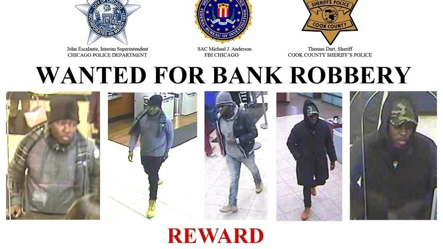 An FBI poster offering a reward for information leading to the arrest of the individual above, wanted for five bank robberies.