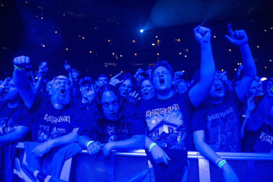 Iron Maiden fans rock out to the legendary metal band at the United Center.
