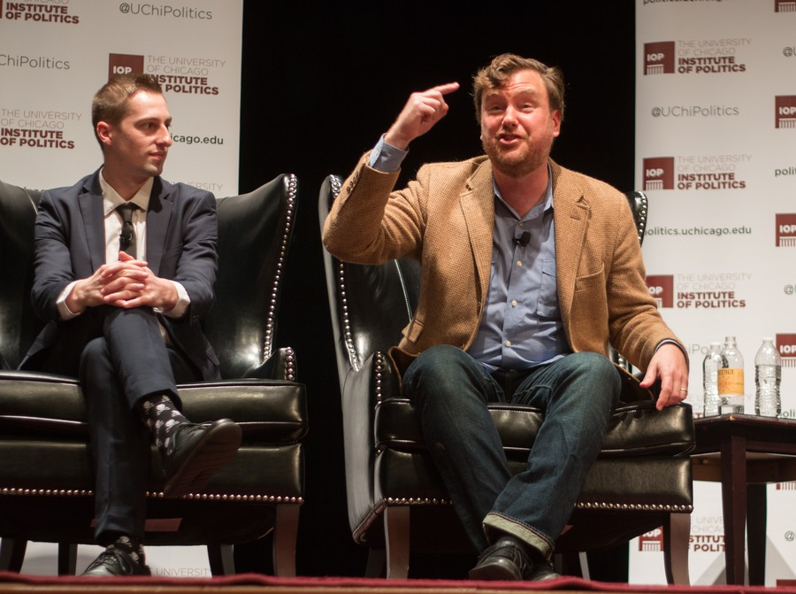 Greg Lukianoff, president and CEO of the Foundation for Individual Rights in Education (FIRE), makes a point while Aaron Hanlon, a Colby College English Professor, looks on.