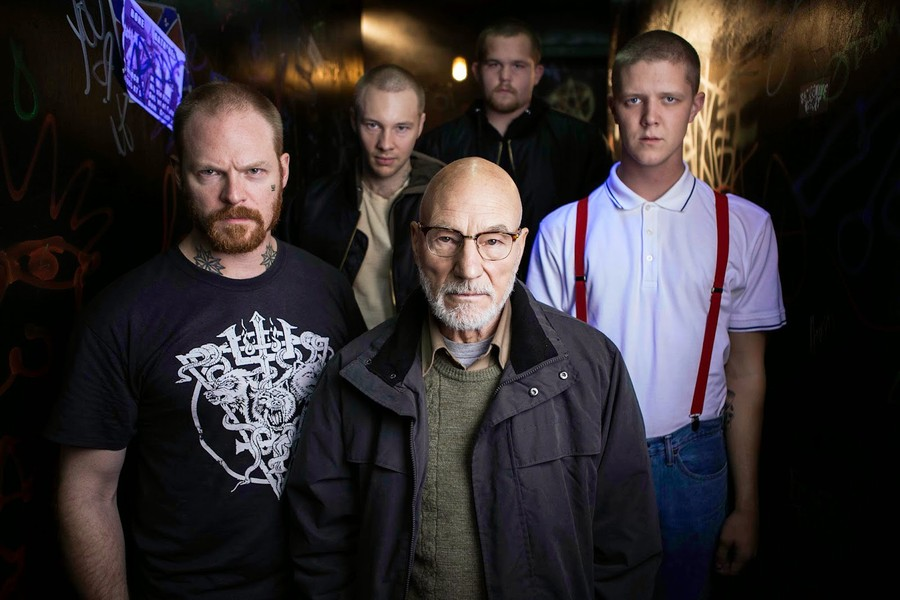 Patrick Stewart (center) leads an antagonistic group of neo-Nazi thugs in director Jeremy Saulnier's Green Room.