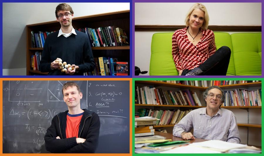 Clockwise from top left, professors Patrick Jagoda (English), Amie Wilkinson (mathematics), Nicolas Brunel (statistics and neurobiology), and Ken Pomeranz (history)