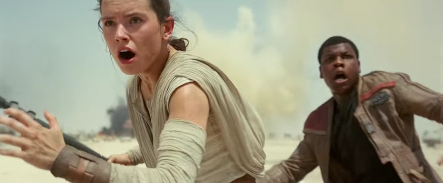 New protagonists, old tricks: Rey and Finn (played by newcomers Daisy Ridley and John Boyega) dash breathlessly into the spotlight.
