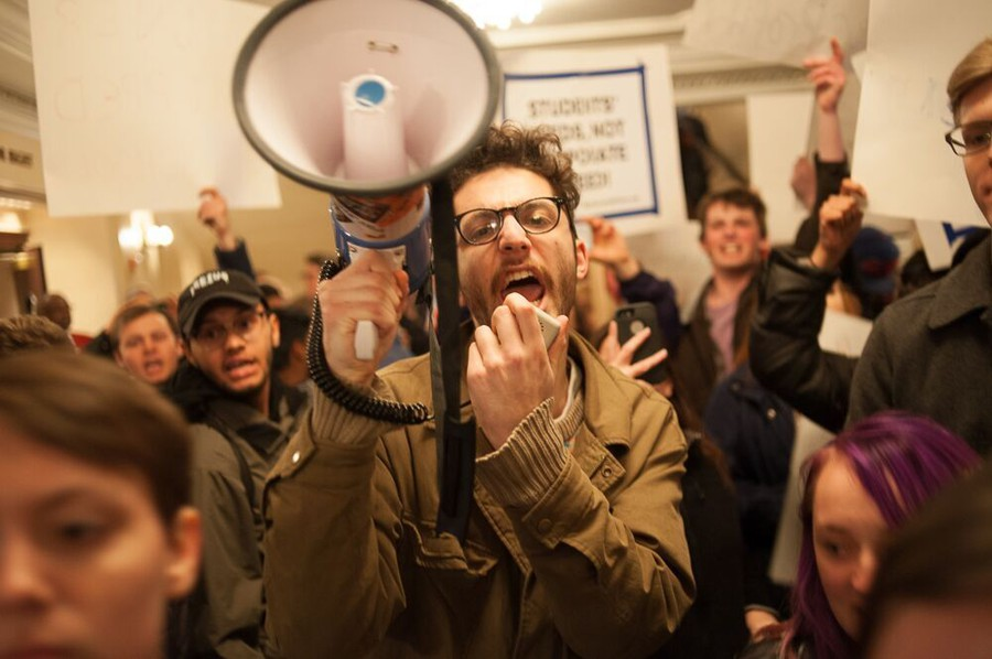 Alex Peltz, a second-year organizer with Students for Disability Justice, protests at the Chicago Symphony Orchestra.