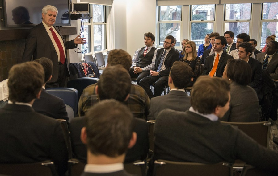 Newt Gingrich met with the College Republicans club at the IOP in 2013.