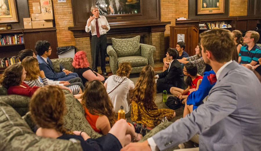 Stone talked to Snell-Hitchcock residents in a small forum after giving his speech.