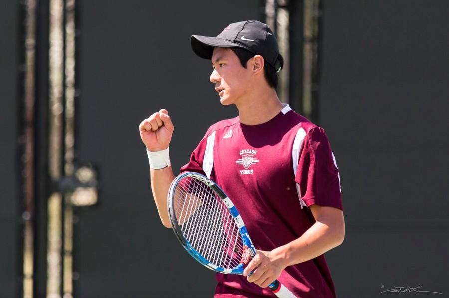 David Liu celebrates after a hard earned point.