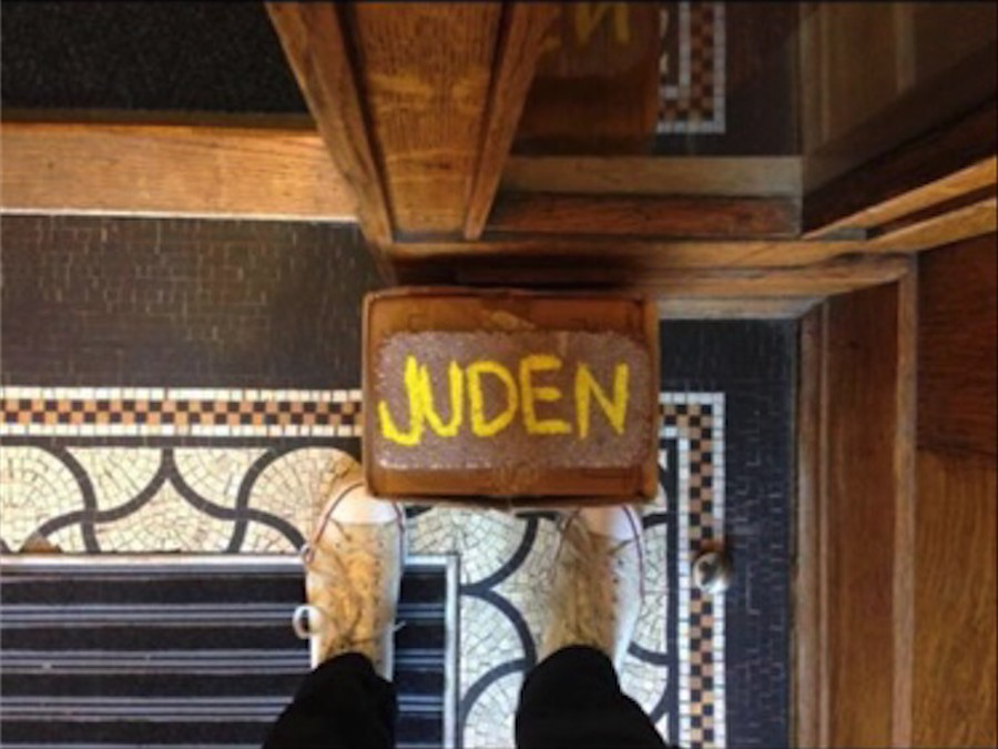 """The image of the brick with the word """"Juden"""" was accompanied on Facebook by a caption reading """"Nothing says 'Welcome back to school' quite like this…"""""""