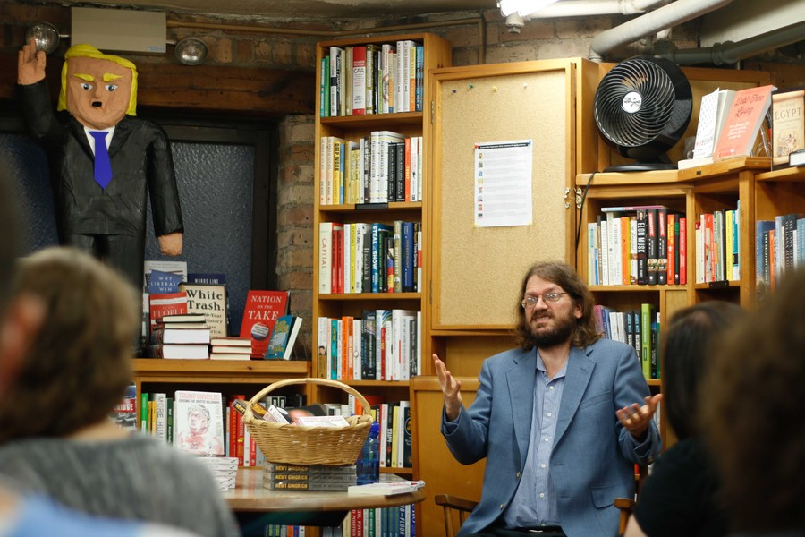 Author John Wilson discusses his book on Republican presidential candidate Donald Trump at the 57th Street Books.