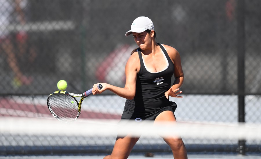 First-year Marjorie Antohi powerfully swings during her match.