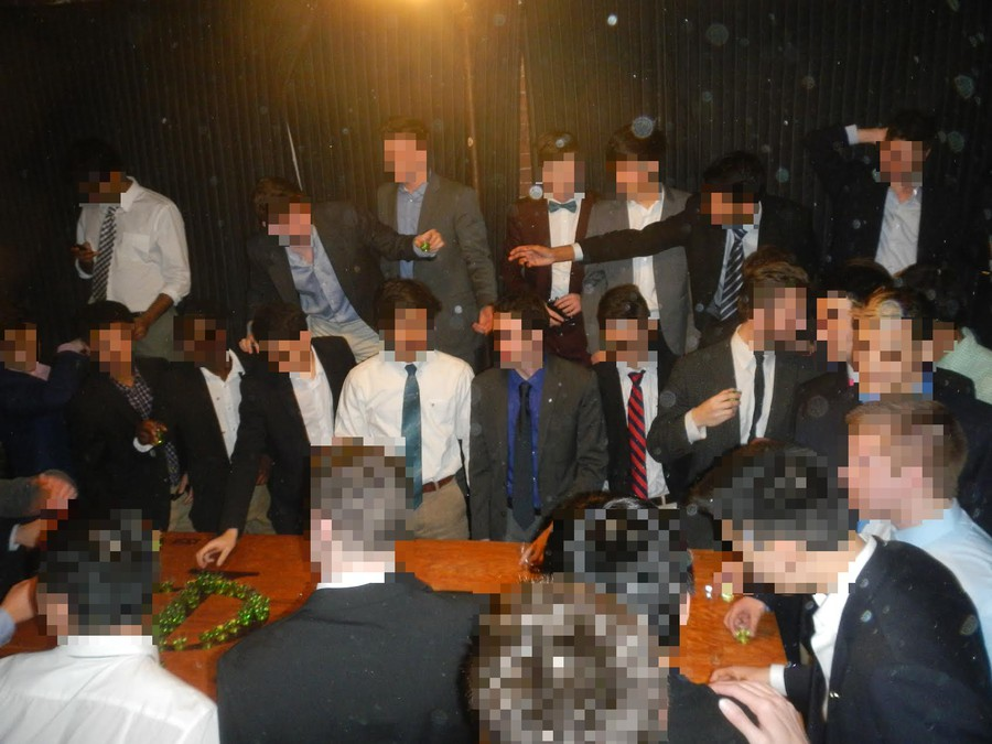 Brothers pass around green 'Phi Nukes' on induction night. Pledges drank from the Theta; brothers drank diluted shots from the Phi.