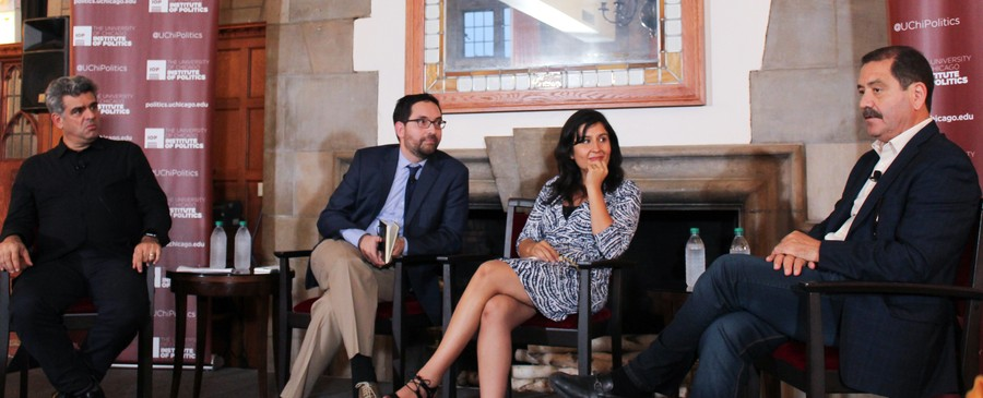 "(left to right) UChicago Professor Emilio Kourí, Northwestern Professor Geraldo L. Cadava, UC Berkeley Professor G. Christina Mora, Cook County Commissioner Jesús ""Chuy"" García discuss ""What is the Latino vote?"" on Oct. 6 at the Quadrangle club"