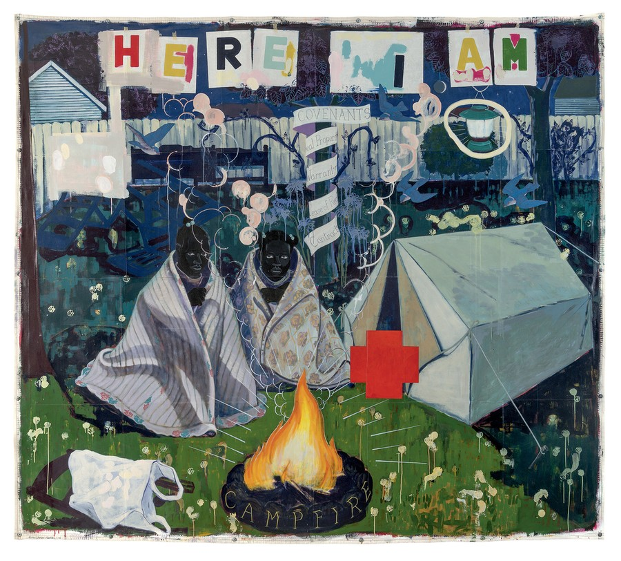 Campfire Girls, by Kerry James Marshall, explores black identity, a dominant theme in his work.