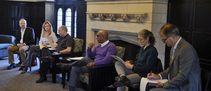 Members of the Committee on University Discipline for Disruptive Conduct (from left to right), Christopher Wild, Michele Rasmussen, Randal Picker, and Daniel Abebe, hold a forum on the issue of disruptive conduct on Oct. 13th.