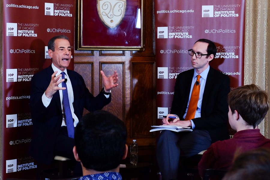 Undersecretary for Public Diplomacy and Public Affairs Richard Stengel (left) discusses America's initiatives to stop online recruitment for ISIL on Oct. 13 at the Quadrangle club. Alexandra Davis.