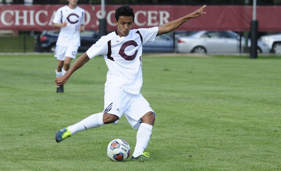 Second-year midfielder Nicco Capotosto passes the ball upfield.