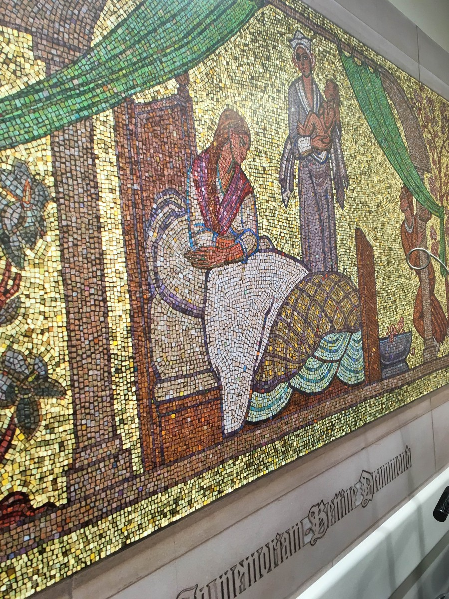 A maternity-themed mosaic at University of Chicago Medical Center.