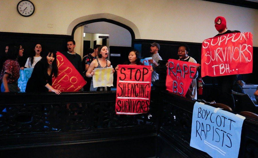 In May, students staged a protest in the Reynolds Club outside the opening night performance of a TAPS-sponsored play that was directed by the plaintiff.