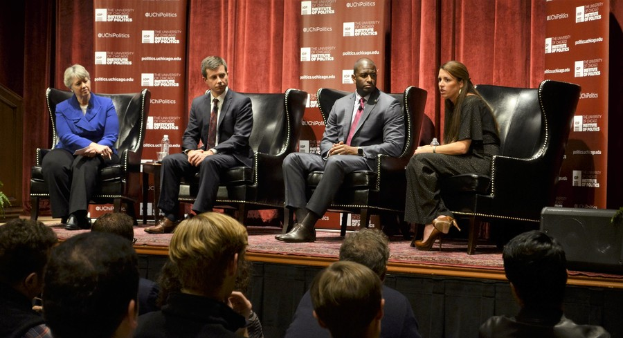 On Oct. 20 former mayor of Houston Annise Parker (left) and the young mayors Pete Buttigieg, Andrew Gillum, and Blair Milo (left to right) discuss methods to solve challenging problems in their respective cities.