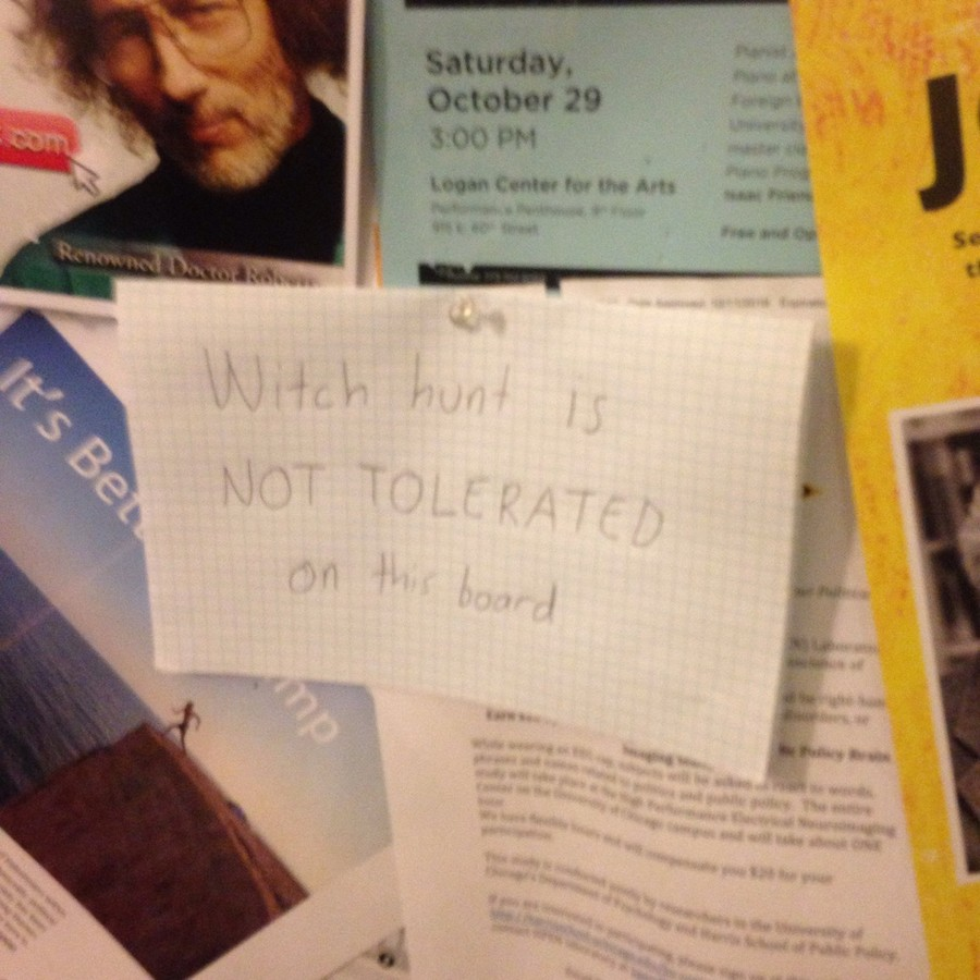 "A sign reading ""Witch hunt is not tolerated on this board"" was posted in Cobb."