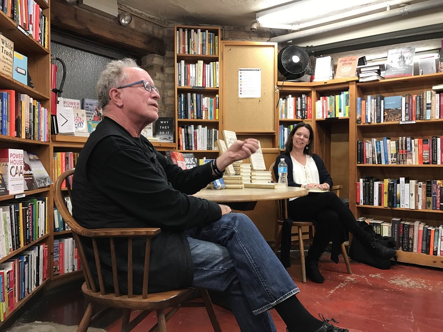"Bill Ayers (left) and Katherine Ozment (right) discusses Ozment's new book ""Grace Without God"" at 57th Street Books."