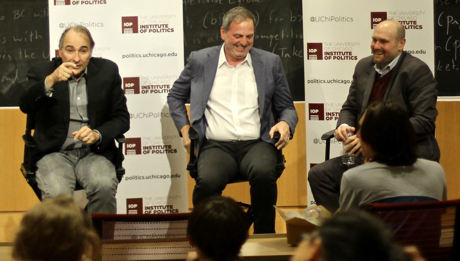 On Oct. 24 IOP director David Axelrod (left) discusses the 2016 presidential election with John Weaver (center), chief strategist for John Kasich's presidential campaign, and Glenn Thrush (right), chief White House political correspondent.