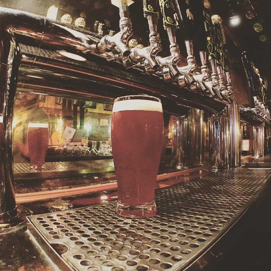 A pour of Jolly Pumpkin's North Peak Mellow – a limited release ale – fresh off the tap at a Michigan location.
