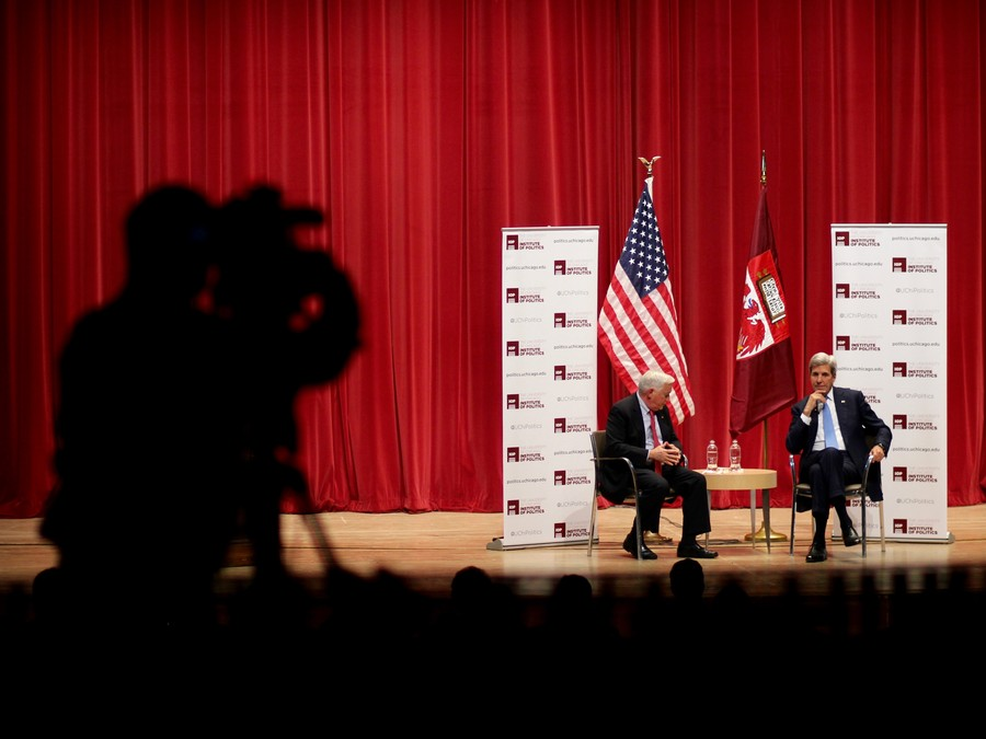 On October 26, United States Secretary of State John Kerry speaks with writer and journalist Walter Isaacson at the IOP about American foreign relations and internal concerns.