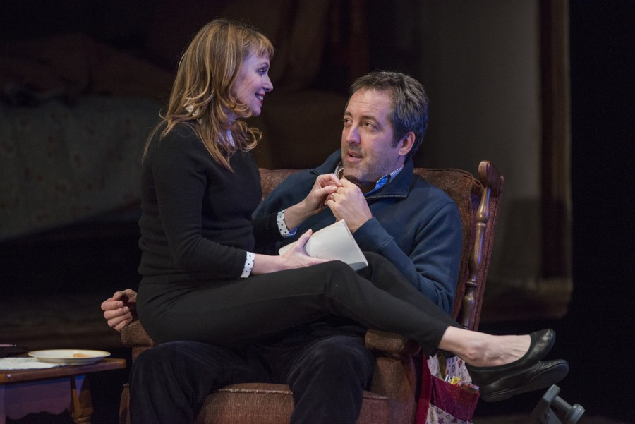 Andrew (Ian Barford) shares a moment with TV (Sally Murphy).