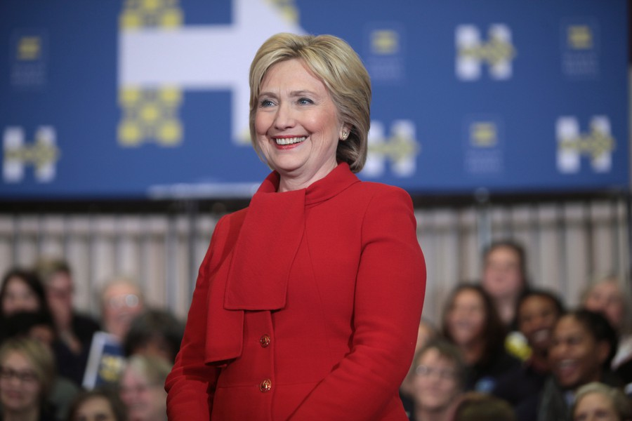 Former Secretary of State Hillary Clinton speaks to supporters before the Iowa Caucus during the Democratic Primary.