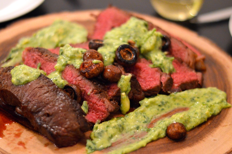 New York strip steak garnished with cremini mushrooms and guacamole, from Nous 02/13/16