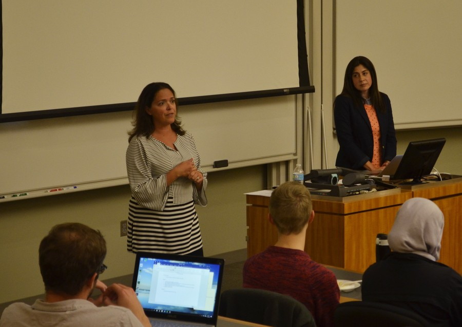 Title IX coordinator Sarah Wake (right) and Deputy Title IX coordinator Shea Wolfe (left) addressed SG at Monday's meeting.