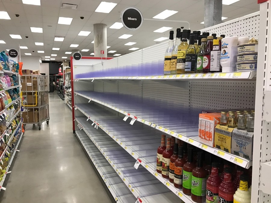 Target will be able to fill these pointedly empty shelves following the city's decision to allow Target to sell alcohol on a limited schedule.