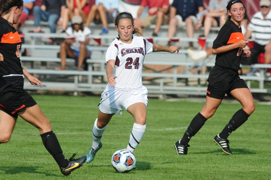 Second-year midfielder Dana Ulrich cuts through the defense.