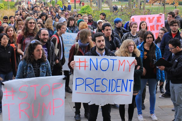 Hundreds demonstrated against Donald Trump outside an admin building last month.