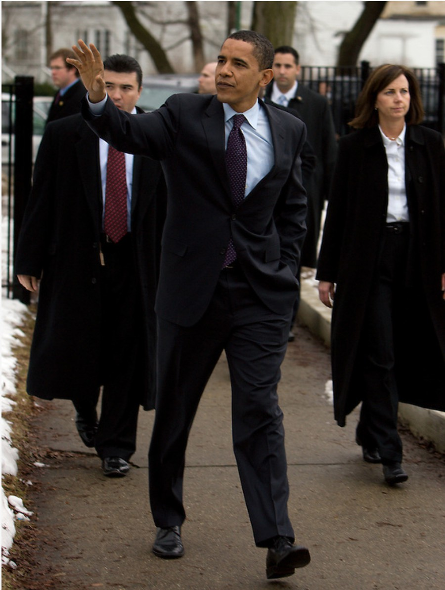 Senator Barack Obama and wife Michelle leave the 23rd precinct polling place at Shoesmith Beulah Elementary School in Kenwood after voting in the 2008 Illinois primary.