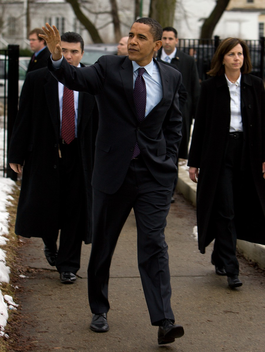 Senator Barack Obama and wife Michelle leave the 23rd precinct polling place at Shoesmith Beulah Elementary School in Kenwood after voting in the Illinois primary on Super Tuesday in 2008.