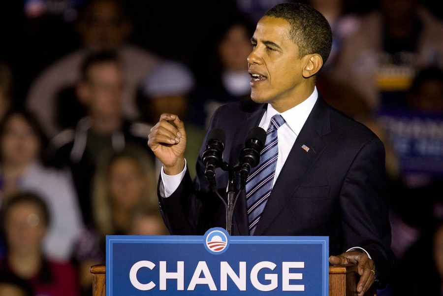 Barack Obama speaks at a campaign rally in Indiana on October 31, 2008.