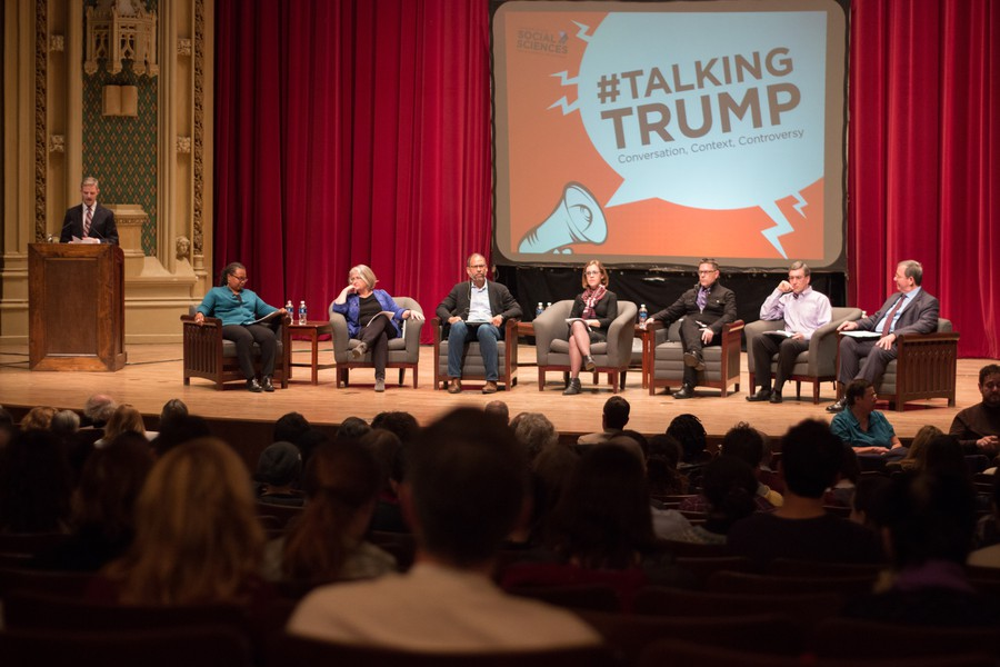 (Left to right) Professors Cathy Cohen, Elisabeth Clemens, Adam Green, Faith Hillis, Joseph Masco, Casey Mulligan, and Robert Pape present their take on Trump on January 19th at Mandel Hall.
