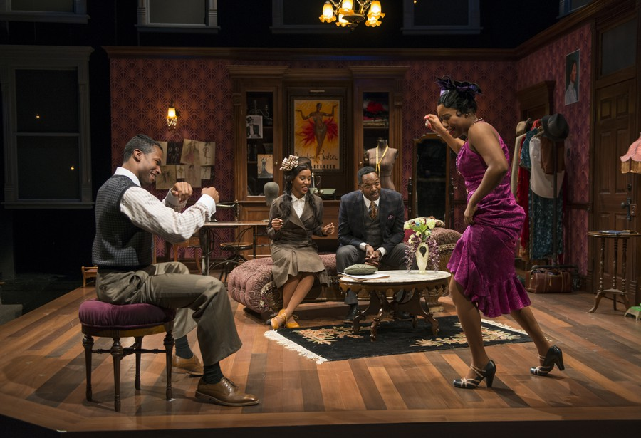 (From left to right) Parris, Cooper, Meredith, and Turner as Guy, Delia, Sam, and Angel enjoy a spontaneous blues dance.