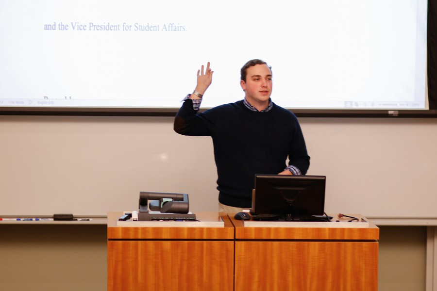 SG Parliamentarian Max Freedman speaks at Monday's assembly meeting.