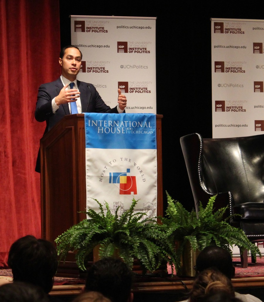 Former HUD Secretary Julian Castro spoke at International House on Thursday.