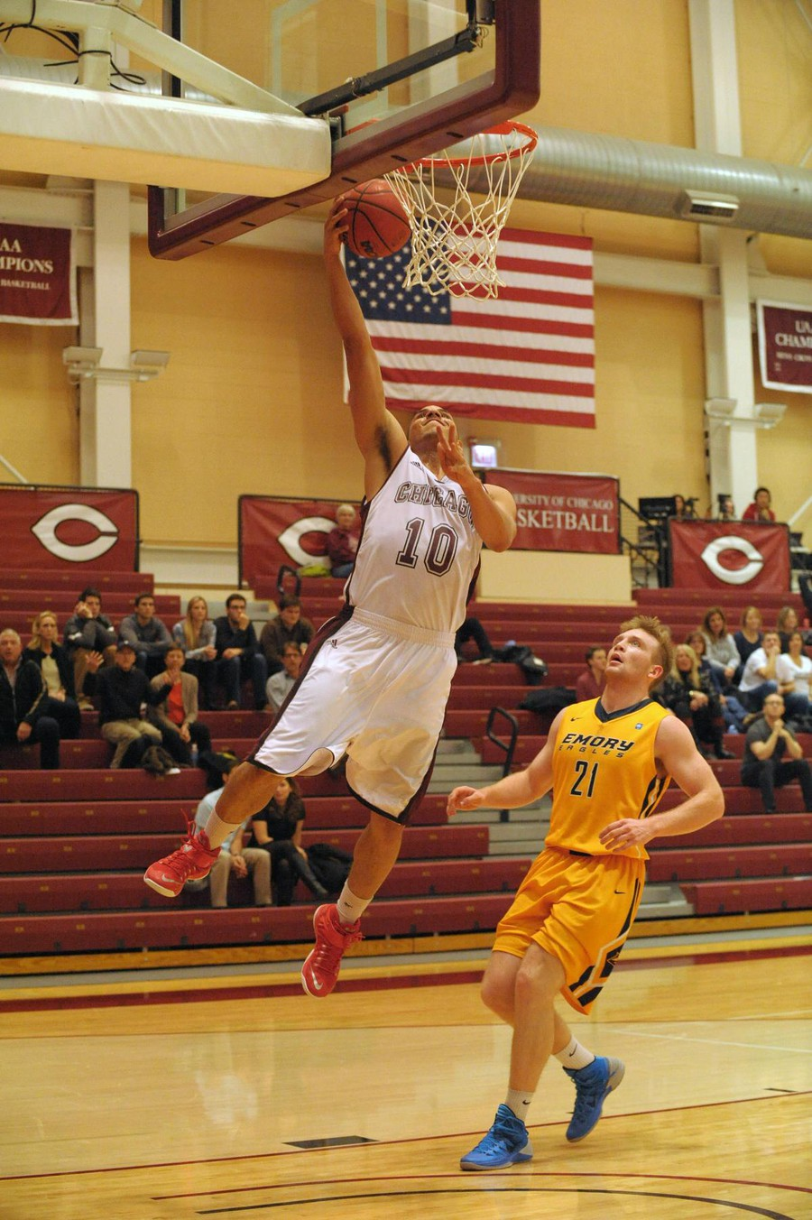 Fourth-year Waller Perez goes in for an impressive high-flying layup.