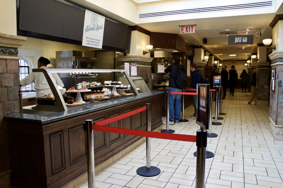 Students line up to try the new restaurants at Hutchinson Commons.
