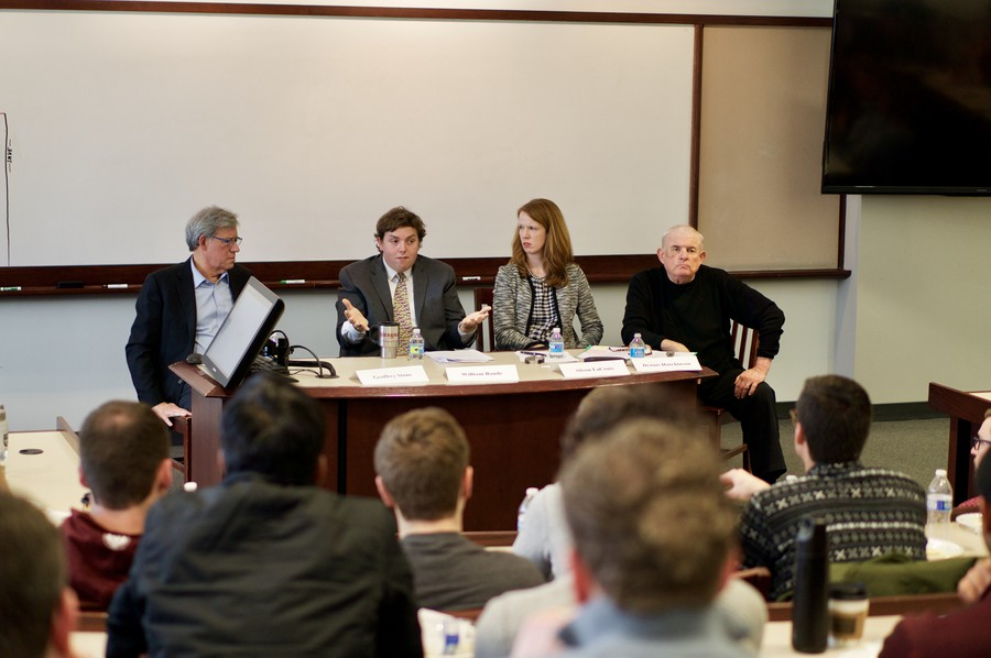 Law School professors Geoffrey Stone, William Baude, and Alison LaCroix sit down with fellow Professor Dennis Hutchinson to discuss the future of the Supreme Court and the nomination of Neil Gorsuch on February 20.