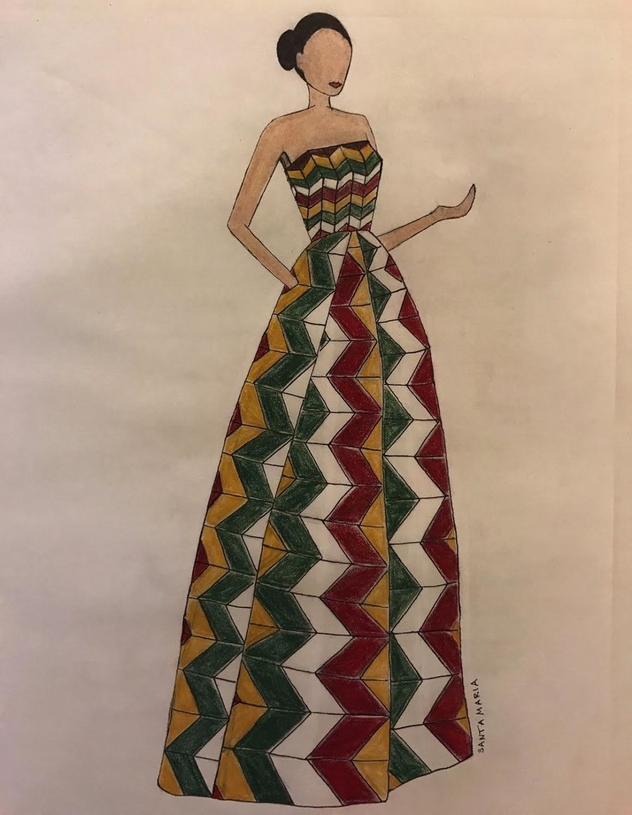Fourth-year Serina Wu's sketch offers a sneak peak of a dress design in her collection.