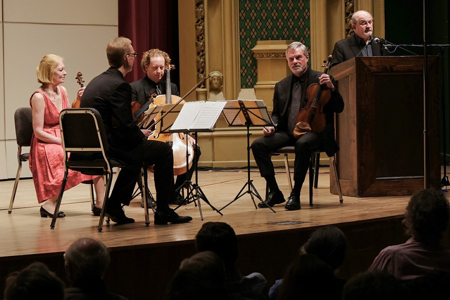 The American String Quartet performed with Sir Salman Rushdie in Mandel Hall on Friday.