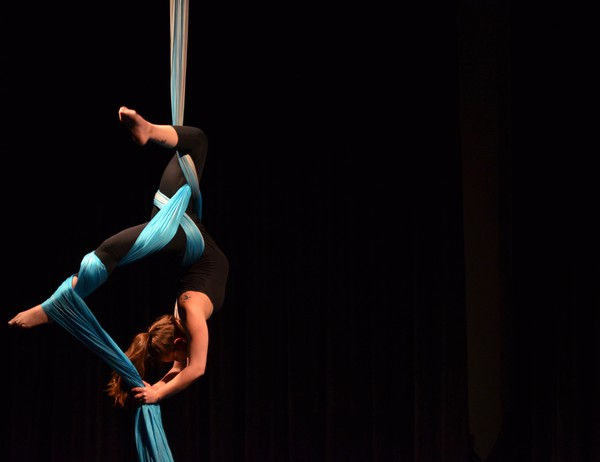 Fourth-year Cecilia Boyers performs on silks for Le Vorris & Vox's annual winter showcase.